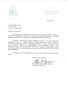 Letter of Support from the Archbishop of Detroit