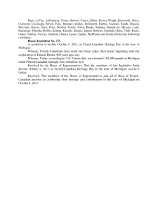 French Canadian Heritage Day Resolution, Passed in the Michigan House of Representatives