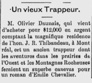 Excerpt from an article on an old voyageur, l'Ouest Français, August 31, 1888.