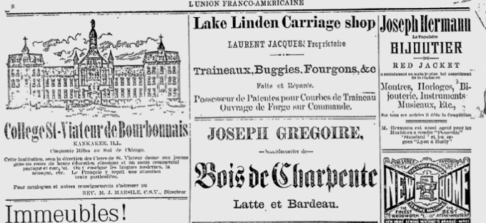 Advertising in l'Union Franco-Americaine, Lake Linden, Michigan June, 4, 1891.