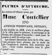 Advertisement for Mme Coutellier's ostrich feather cleaning business in Detroit, July 4, 1885, Le Courrier de l'Ouest.
