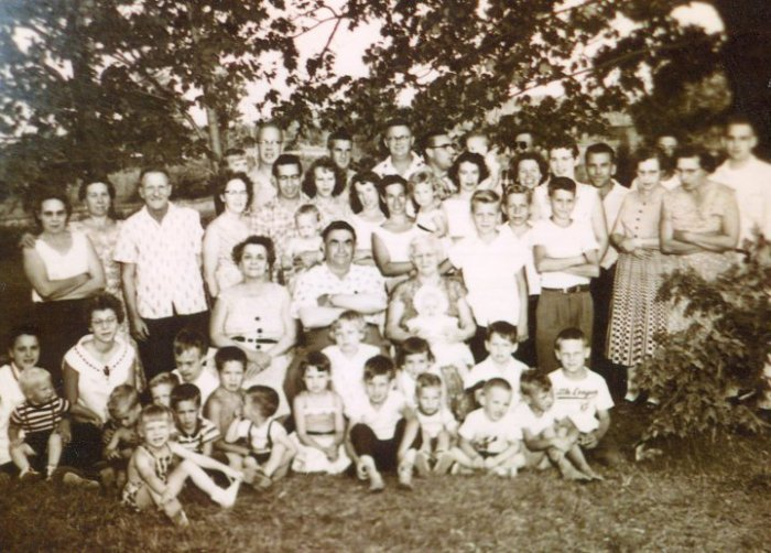 A family picnic in the 1960s, at the family homsetead, Tower, Michigan, including the family matriarch Mary (Peltier) Bernia.