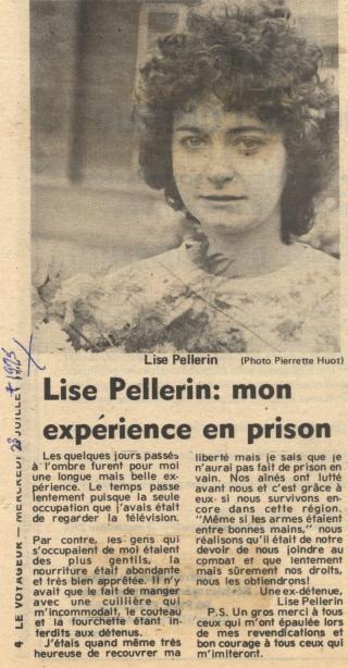 Mouvement C'est l'temps (C2/465/9) « Lise Pellerin : mon expérience en prison ». Photo : Pierrette Huot, article paru dans Le Voyageur, 23 juillet 1975. Université d'Ottawa, CRCCF, Fonds Association canadienne-française de l'Ontario (C2).