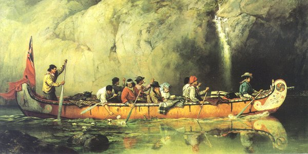 Canoe Manned by Voyageurs Passing a Waterfall, 1869, Source: Library and Archives Canada/Crédit: Frances Anne Hopkins/Frances Anne Hopkins fonds/C-002771