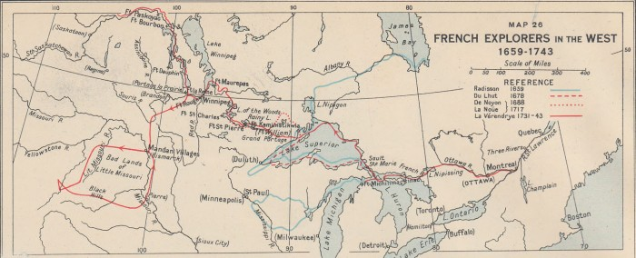 French Explorers in the West, 1659-1743 (L. J. Burpee, An Historical Atlas of Canada, 1927)