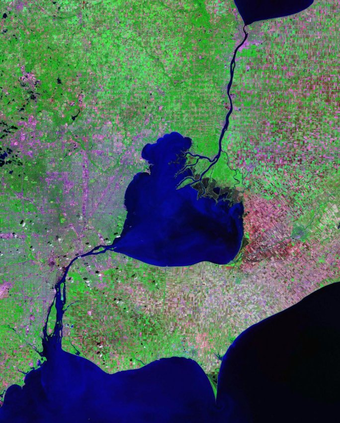 Lake St. Clair, St. Clair River and Detroit River - Landsat satellite photo Data source: zulu.ssc.nasa.gov/mrsid