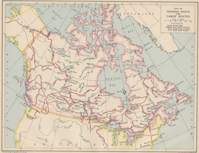 Trading Posts and Canoe Routes (L. J. Burpee, An Historical Atlas of Canada, 1927)
