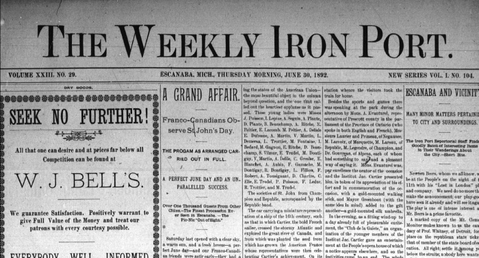Escanaba Weekly Iron Port Front Page Image copy