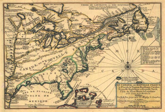 """""""Fer - Le Canada, ou Nouvelle France, la Floride, la Virginie, Pensilvanie, Caroline"""". Licensed under Public domain via Wikimedia Commons - http://commons.wikimedia.org/wiki/File:Fer_-_Le_Canada,_ou_Nouvelle_France,_la_Floride,_la_Virginie,_Pensilvanie,_Caroline.png#mediaviewer/File:Fer_-_Le_Canada,_ou_Nouvelle_France,_la_Floride,_la_Virginie,_Pensilvanie,_Caroline.png"""