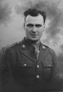 Edward Bessette (Joseph Albanie Edward Bessette), Manitoba and Detroit, Sargeant, U.S. Army Armored Division (1st squad, E Company, 36th Infantry), World War II, Battle of the Bulge. Courtesy of Sue Pearson.