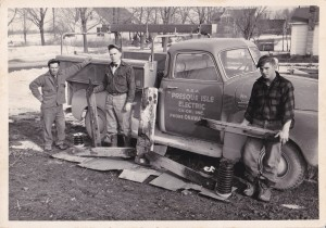Sam LaForest, left, with co-workers Harry Pauly and Billy Morgan circa 1948, Rural Electric Coop, Onaway, Michigan
