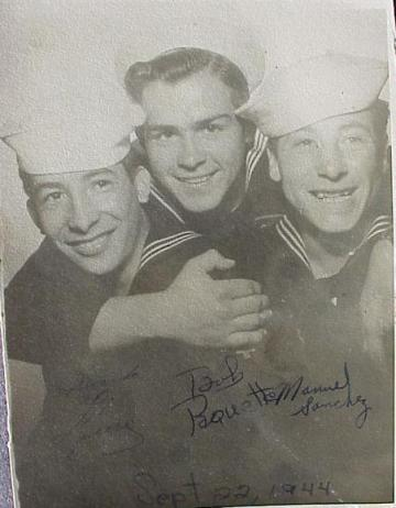 Robert Paquette, (center) Quinnisec and Kingsford, Michigan,  US Navy, WWII, Japan. Courtesy of James Paquette.