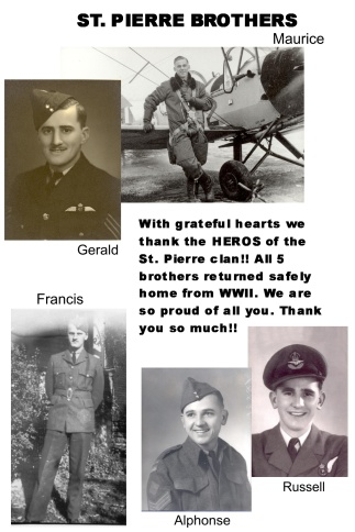 Alphonse (Canadian Army), Maurice, Gerald, Francis, and Russell St. Pierre (RCAF), Windsor, Ontario WWII, Courtesy of Maureen Greff.