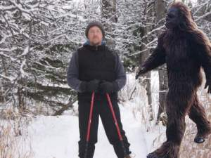 "Joe vs. Bigfoot on the popular ""Snowshoeing with Sasquatch"" trail event. Courtesy of Joe Bouchard."