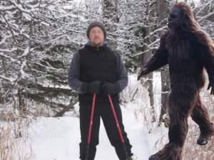 "Joe vs. Bigfoot on the popular ""Snowshoeing with Sasquatch"" trail event. Courtesy of Joe Bouchard."