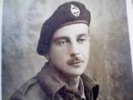 Gilbere (Gilbert) LaPlante, Blind River, Ontario/Detroit/Mt. Pleasant, MI. Tank driver with the Canadian Armored Division. He landed in Normandy on Juno Beach with his fellow Canadians, WWII. Courtesy of Carrol A. LaPlante