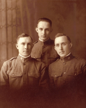 The Cottrell brothers, Martin, Frank and Jack, from Caro, Michigan. These brothers fought in France during World War I. They are the sons of Joseph Cottrell and Victoria LaJeunesse of Detroit. Photo courtesy of Steve Bell.