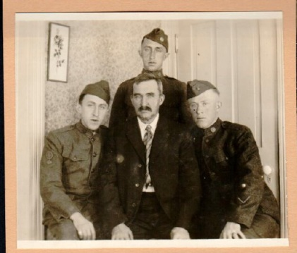 Joe, Fred, and Ted Garneau. WWI. Seen here with father Theodore (1855-1926). Cadillac, Michigan. Courtesy of Cindy Ziegler-Smith.