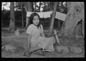 Indian girl, daughter of blueberry picker, near Little Fork, Minnesota. Russell Lee, Photographer, 1937. Library of Congress # fsa1997021853/PP