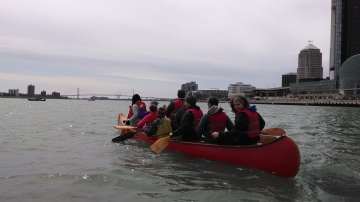 Intrepid members of the Society of les Voyageurs on an outing on the Detroit River.