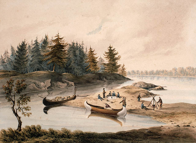 George Alexander Frazer, Breakfast on the North Shore of Lake Huron, 1825. Library and Archives of Canada.