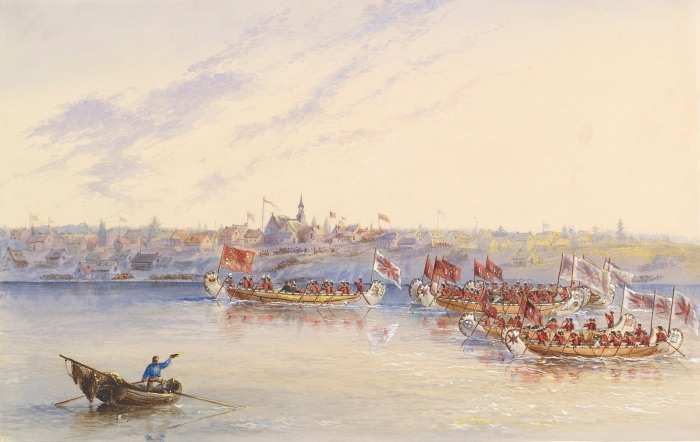 Frances Anne Hopkins, Canoes Passing Caughnawaga, 29 August 1860 (Royal Collection Trust)