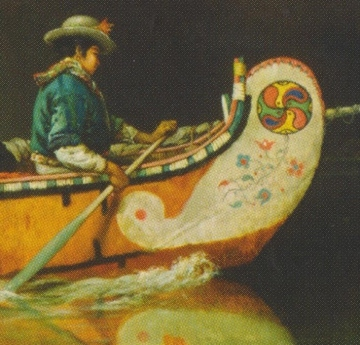 Detail from Canoe Manned by Voyageurs Passing a Waterfall, 1869, Source: Library and Archives Canada/Crédit: Frances Anne Hopkins/Frances Anne Hopkins fonds/C-002771