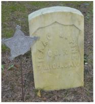 Isaac LaPine, Civil War, 7th Cavalry, Company K. St. Anne's Cemetery, Mackinac Island, Michigan. Courtesy of Theresa Weller.