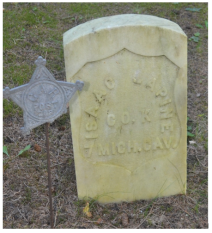 Isaac LaPine, Civil War, 7th Cavalry, Company K. St. Anne's Cemetery, Mackinac Island, Michigan. Courtesy of Theresa Weller.