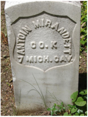 Antoine Mirandette, Civil War, 7th Cavalry, Company K. St. Anne's Cemetery, Mackinac Island, Michigan. Courtesy of Theresa Weller.