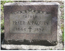 Peter Paquin, Civil War, 7th Cavalry, Company K. St. Ignatius Cemetery, St. Ignace, Michigan. Courtesy of Theresa Weller.