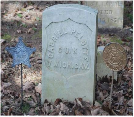 Gabriel Pelotte, Civil War, 7th Cavalry, Company K. St. Anne's Cemetery, Mackinac Island, Michigan. Courtesy of Theresa Weller